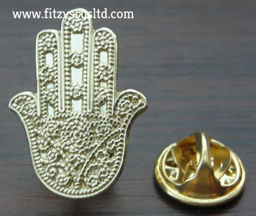 Hamsa Lapel Hat Cap Tie Pin Badge - Khamsa hand of Fatima Brooch - khomsah Charm